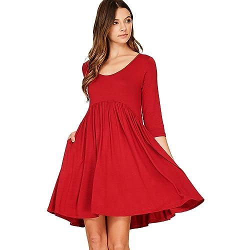 14fdc5fc695 Annabelle Women s 3 4 Sleeve Empire Waist A Line Babydoll Pocket Swing Dress