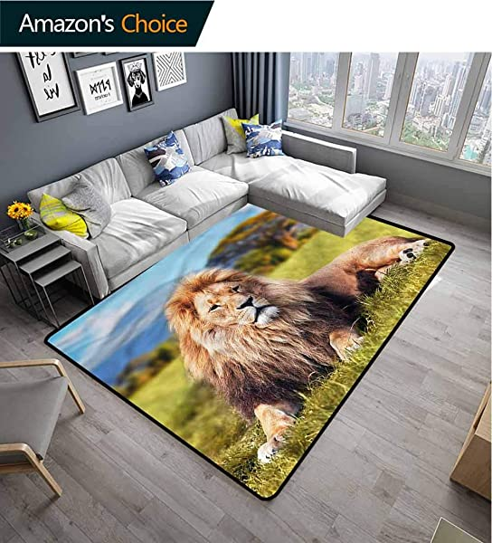 TableCoversHome Lion Vintage Area Rug Dorm Room Beast Lying On Savannah Grass Pattern Printing Door Mat Fashionable High Class Living Dinning Room 5 X 8