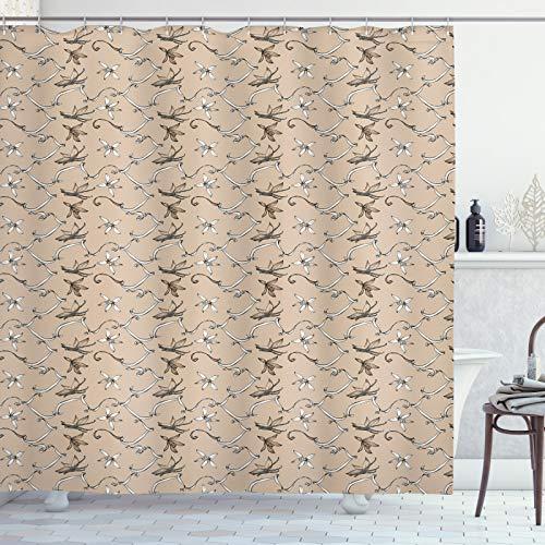 ABAKUHAUS Vanille Duschvorhang, Aromatische Blume, Waschbar & Leicht zu pflegen mit 12 Haken Hochwertiger Druck Farbfest Langhaltig, 175x240 cm, Warm Taupe Weiß