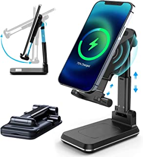 スマートフォン用ワイヤレス充電器 折りたたみ式 急速ワイヤレスチャージャー ポータブル携帯電話ホルダー 土台部分が重く安定 角度も高さも調節でき ipad/iPhone11/12/Pro/Max/Xs/XR/X S10/S9 などにも対応 (ブ...