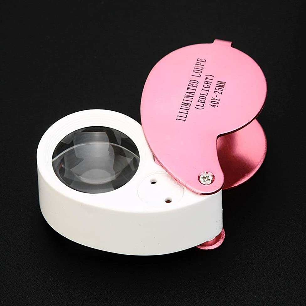 Loupe Magnifier, Transer LED Illuminated Jewellers Jewellery Loupe Loop Magnifying Glass Eye Lens Lense 40x (Pink)