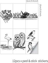 Ancoree Rabbits Black and White Sketch Tile Stickers for Kitchen Bathroom Waterproof Removable Decals, Only Suitable for Smooth Ceramic White Tiles,12PCS (E,15 x 15 cm)