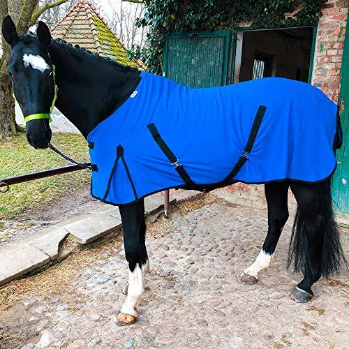 Abschwitzdecke mit Kreuzgurt für Pferde, Ponys – Atmungsaktive Pferdedecke aus Fleece – für schnelles Trocknen & Wärmen (Royalblau, 115 cm)