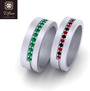 Joker and Harley Mad Love Inspired Matching Wedding Band Set His and Hers Solid 18k White Gold