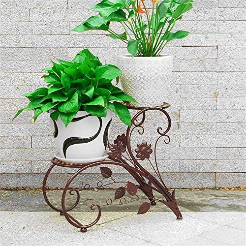 YINUO Balcon Étage De Plancher Étagère De Fleur Support De Fleur Salon Étagère À Fleurs Intérieur Et Extérieur Européen En Fer Forgé Suspendu Orchidée Vert Fleur Stand (Color : Brown)