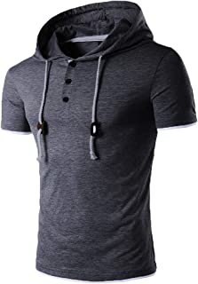 Mens Short Sleeve Casual Hooded Shirts,AmyDong Loose Button Solid Pullover T Shirt Tops Blouse
