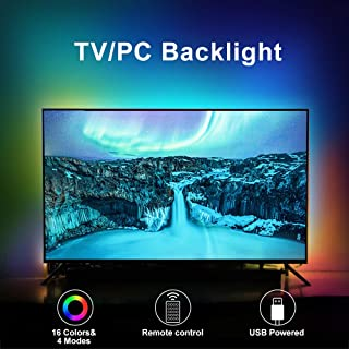 LED TV Backlights, 6.6Ft RGB TV Strip Lights kit with Remote, USB Powered Bias Lighting for 40 Inch-75 Inch TV, PC Monitor...