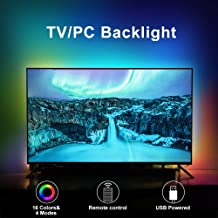 LED TV Backlights, 3.3Ft RGB TV Strip Lights kit with Remote, USB Powered Bias Lighting for 24 Inch-60 Inch TV, PC Monitor and Home Theatre