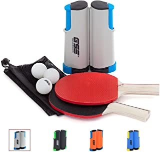 Grey Basuwell Ping Pong Net Retractable Mobile Table Tennis Net and Post Set Replacement Adjustable Portable Anywhere on Almost Any Table Indoor Outdoor Plastic Bracket Clamps