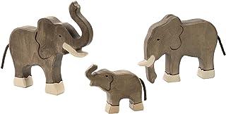 Holztiger Elefanten Set mit 3 Holzfiguren Holzfiguren Holzfiguren Holzspielzeug Tierfiguren mit Palandi® Sticker B075TCWGXY  Won hoch geschätzt und weithin Grünraut im in- und Ausland Grünraut 33e217