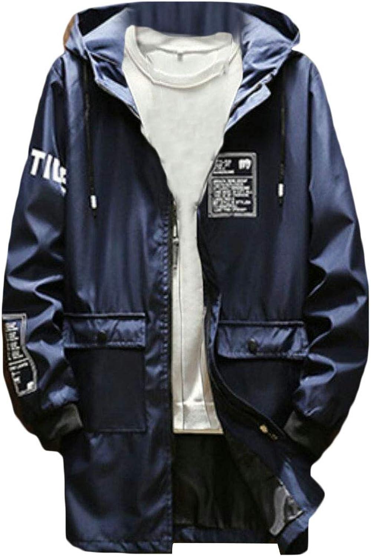 9c761978 Fllay Men Fall Zip-Up Pockets Windbreaker Hooded Print Long Jacket Jacket  Jacket Coat 1ecc4a