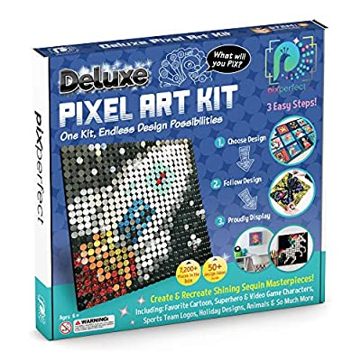 Pix Perfect Deluxe Pixel Art Kit (New Version) for Fans of Pixel Art, Crafts or Sequins. 18 Colors, 7,200+ Pieces, 50+ Design Ideas, Hours of Creative Fun!