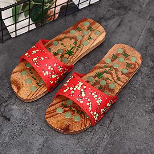 Wenhua Dusch-& Badeschuhe Leichte,Holzfußmassage leise Holzpantoffeln, Indoor-Freizeitpantoffeln für Männer und Frauen, Big red_36Leicht Soft Badeschuhe