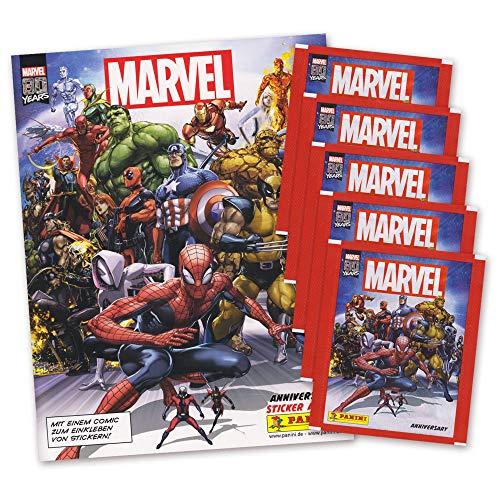 Hybridserie 80 Jahre Marvel Sammelalbum + 5 Booster Packungen Sammelsticker Karten 20 Sticker und 5 Karten - deutsche Ausgabe