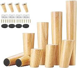Uni-Fine Houten meubelpoten, 4 stuks, 8 cm, houten tafelpoten, houten bankpoten, meubelpoten, met montageplaten en schroev...
