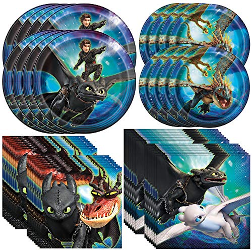 Unique How to Train Your Dragon 3 Dinnerware Bundle   Plates, Napkins   Kids Birthday Party, Baby Shower Decor, Party Decoration Supplies
