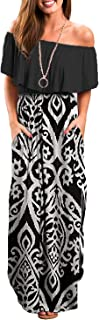 Womens Off Shoulder Ruffle Party Long Dresses Casual Side Split Beach Maxi Dress with Pockets