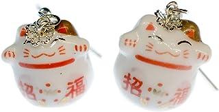 Gl/ückskatze Winkekatze Maneki Neko Porte-boucles doreilles Miniblings Chats rouge Manga