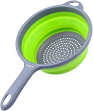 ZOER Kitchen Foldable Silicone Strainers,Collapsible Colanders with Handles,Space-Saver Folding Strainers Colander,Capacity of 2 quart (Green)