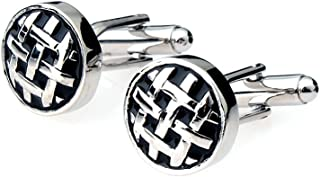 Generic Mens Silver Shirt Cufflinks Business Suit Round Cuff Links Wedding Jewelry