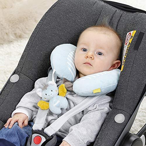 Fehn 065282 Nackenstütze Fledermaus – Nackenkissen mit kleinem Rasseltier für Babys und Kleinkinder ab 6 Monaten – Maße: 24 x 20 cm