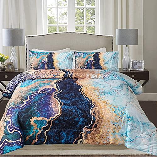 Blckmanba Queen Comforter Sets - Blue Marble Comforter Bedding Sets 3D Watercolor Pattern for All-Season Quilt Sets, 2 Matching Pillowshams