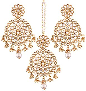 Aheli Ethnic Faux Kundan Drop Pearl Beads Dangle Earrings Maang Tikka Set Bollyood Wedding Party Fashion Jewelry for Women