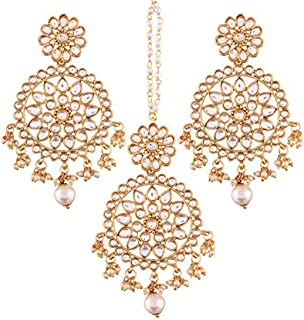 Wedding Wear Indian Kundan Pearl Maang Tikka Earrings Set Bollywood Ethnic Traditional Jewelry for Women