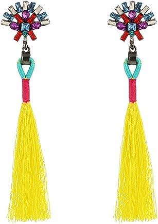 Chytaii Pendientes Mujer Pendientes Largos con Flecos Viento Nacional Accesorios Damas Pendientes de Borla con Estilo Retro 9 4cm