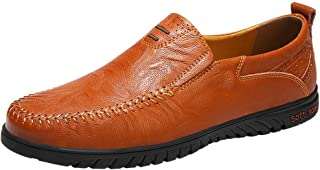Sanyge Men's Leather Shoes Slip on Casual Loafers Driving Moccasin Shoes