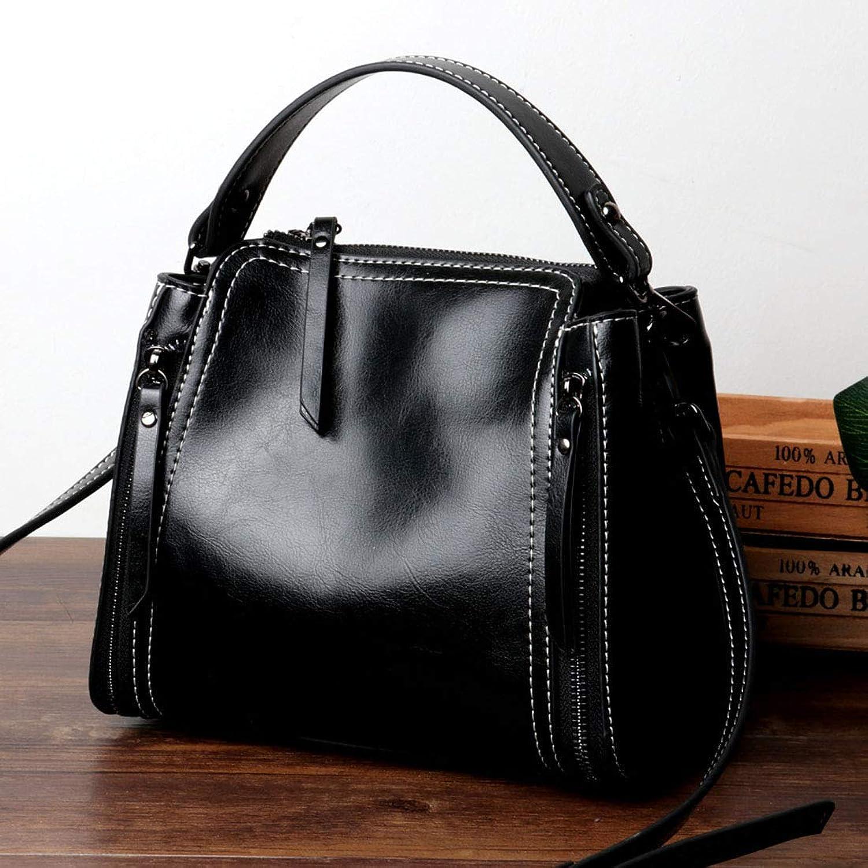 BAACHANG BAACHANG BAACHANG Damen Leder Öl Wachs Tasche Einfache und praktische Handtasche Freizeittasche Schulter Diagonal Paket (Farbe   schwarz) B07MXVTKPV 251b3b
