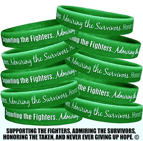 Fight Like a Girl Supporting, Admiring, Honoring Wristband Bracelet for Kidney Cancer Cerebral Palsy TBI Green (10 Pack)