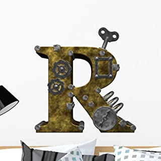 Wallmonkeys Steampunk Letter R Wall Decal Peel and Stick Typographic Graphics (24 in H x 22 in W) WM425868