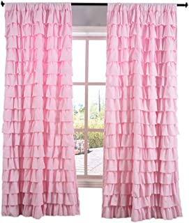 Kotile Horizontal Stripes Style Rod Pocket Girls Room Curtains with Watterfall Ruffled Wave Layer Panel, Gypsy Ruffle Window Curtain for Bedroom (Pink, 1 Panel, 52 x 63 Inch)