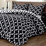 downluxe Lightweight Printed Comforter Set (King, Black) with 2 Pillow Sham - 3-Piece Set - Down Alternative Reversible Comforter