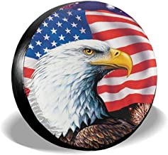 Jackmen Spare Tire Cover American Eagle Flag Polyester Universal Dust-Proof Waterproof Wheel Covers for Jeep Trailer RV SUV Truck and Many Vehicles (14