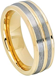 Men's 8mm 2 Tone Low Beveled Edge High Polished Yellow Gold Ion Plated Wedding Band with Pinstripe and Gunmetal Brushed Design Center Finish Comfort Fit Tungsten Carbide Anniversary Ring
