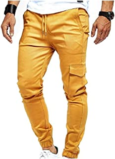 Howely Mens Drawstring Waist Solid Color Pockets Beam Foot Casual Sweatpants