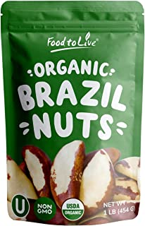 Organic Brazil Nuts, 1 Pound – No Shell, Non-GMO, Kosher, Raw, Vegan