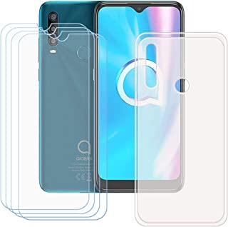FZZ Case for Alcatel 1 SP + 4 Pack Tempered Glass Screen Protector Protective Film,Slim Semi-Transparent Soft Gel TPU Sili...