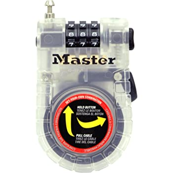 Master Lock Cable Lock, Set Your Own Combination Bike Lock, 3 ft. Long, Assorted Colors, 4605D