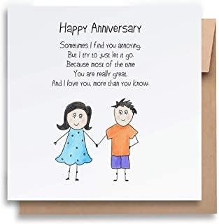 I Love You Anniversary Card with Envelope, Funny Anniversary Card Humorous Anniversary Card Anniversary Card For Him Anniv...