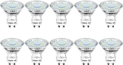 Lepro Bombillas LED GU10 4W, Bombilla GU10 LED Equivalente 50W Halógena, Lámpara LED GU10 350 lumen Blanco Cálido 2700k, Ángulo de haz de 120°, Paquete de 10