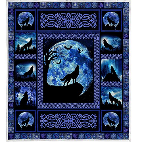 LIVIN' ILLUSION Wolf Quilt Pattern Blanket Quilted Christmas Birthday Customized Teen Boy Graduation Gifts All Season Warm Quilt Blanket for Bed Sofa (US King 90'×102'(230cm×260cm))
