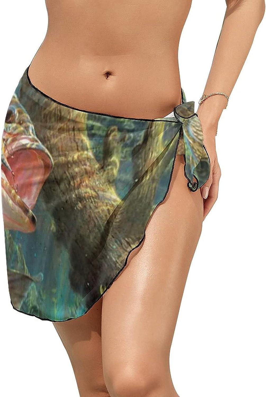 Women's Beach Sarongs Bikini Cover Ups Fishing Lure Brook Trout Sheer Swimwear Short Skirt
