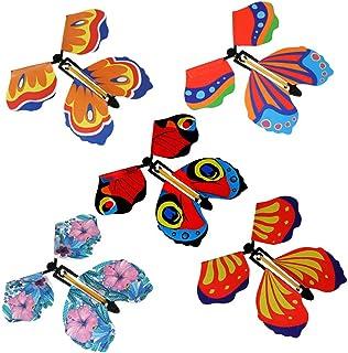 Ahagut, Ahagut 10 Piezas de Juguete de Mariposa de Hadas voladoras en el Libro, Tarjeta de aleteo de Mariposa de Cuerda, Mariposas de Papel voladoras, Regalo de Fiesta de Juguete (5 Piezas)