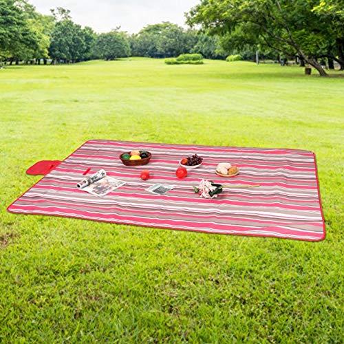 Omabeta Manta para Acampar a Prueba de Humedad al Aire Libre con Rayas Rojas para cojín de Playa para Mascotas(195 * 200cm)