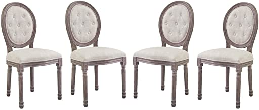 Modway Arise French Vintage Tufted Upholstered Fabric Weathered Wood Four Kitchen and Dining Room Side Chairs in Beige - Fully Assembled