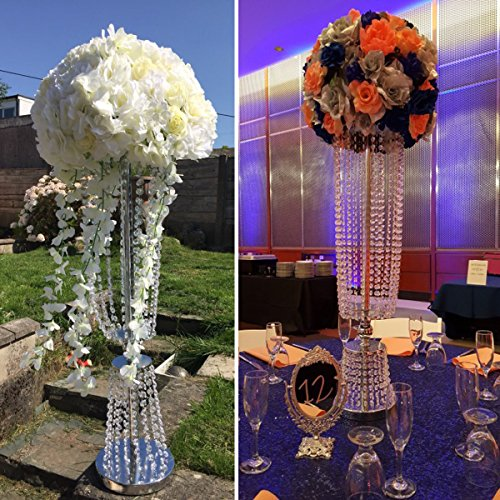"2 Pcs 31.5"" Tall Acrylic Imitation Crystal Candle Holder Stand Gold/Silver Flower Vase Wedding Centerpiece Lead Road Candlestick for Wedding Event Decoration (Silver)"