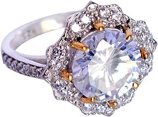 Ravishing Impressions Jewellery Anillo de plata de ley maciza 925 de cuarzo arcoíris y topacio blanco, joyería de diseño, ...